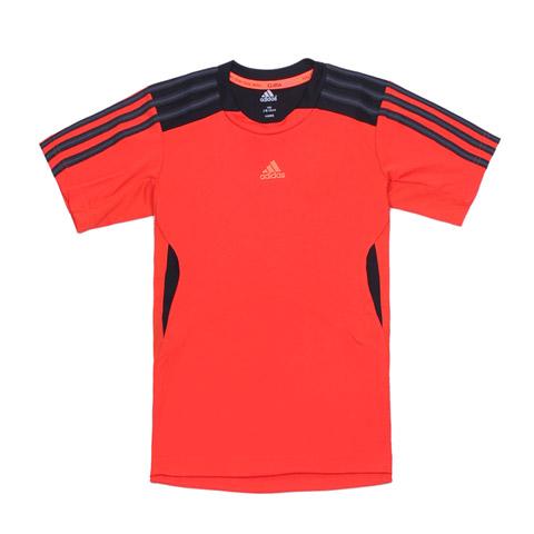Adidas 阿迪达斯童装 2012年夏季活力红少男涤纶短袖T恤X27541