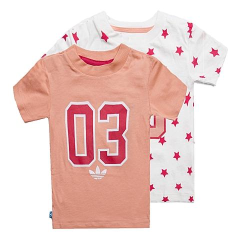 adidas阿迪三叶草新款专柜同款女婴童2件短袖T恤S14371