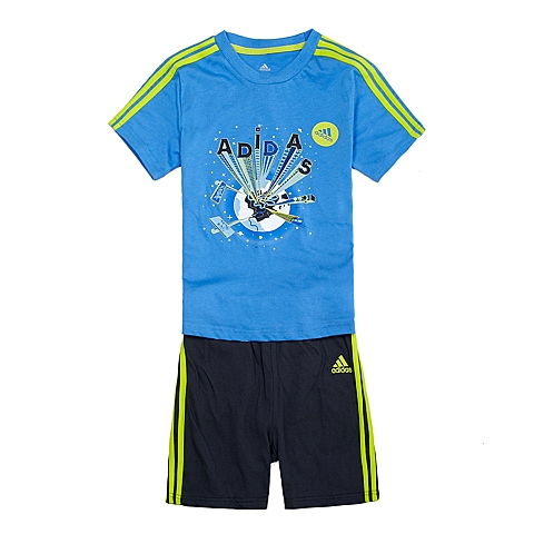 adidas阿迪达斯新款专柜同款男童基础套装系列套服S21464
