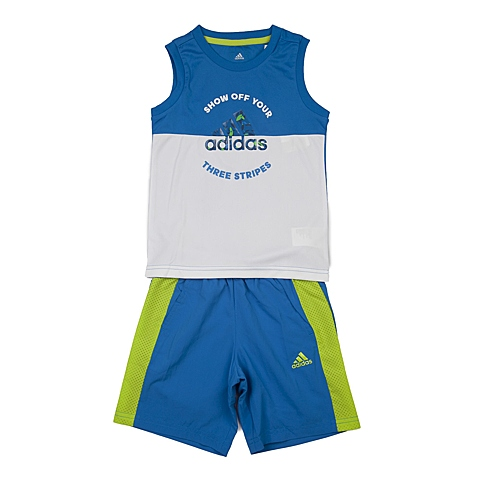 adidas阿迪达斯新款专柜同款男小童短袖套服B43944