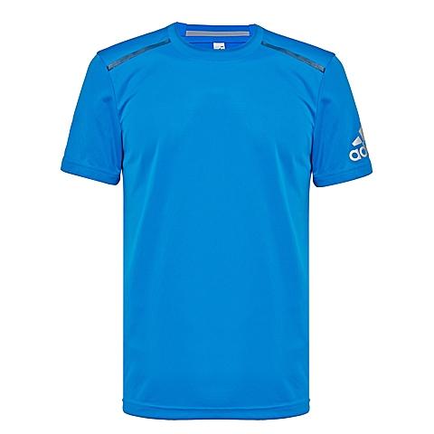 adidas阿迪达斯新款男子科技三条纹系列T恤AX8656