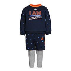 adidas阿迪达斯2018男婴童IB F CREW SET1长袖套服CV5360