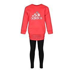 adidas阿迪达斯2018女小童LG CREW SET长袖套服CV5378