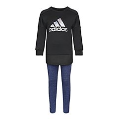 adidas阿迪达斯2018女小童LG CREW SET长袖套服CV5379