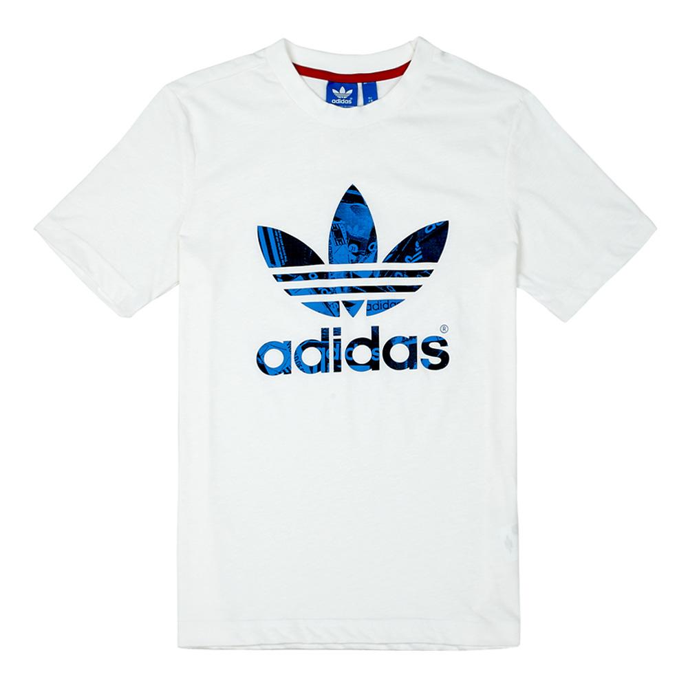 Adidas 阿迪达斯三叶草 童装2014年秋季新款 白色男大童短袖T恤M