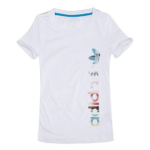adidas阿迪三叶草新款专柜同款女童三叶草系列短袖T恤S14479