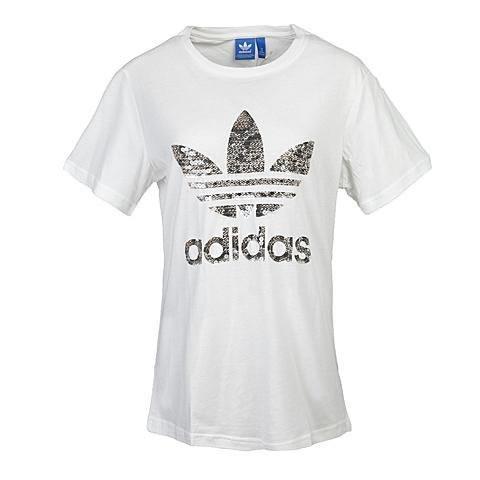 adidas阿迪三叶草新款女子三叶草系列圆领短袖T恤AB2592