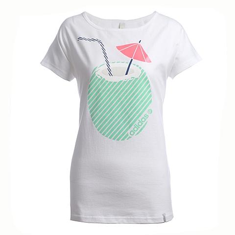 adidas阿迪休闲新款女子休闲生活系列圆领短袖T恤S25169