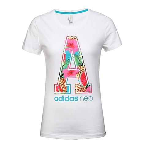 adidas阿迪休闲新款女子休闲生活系列短袖T恤AK1215
