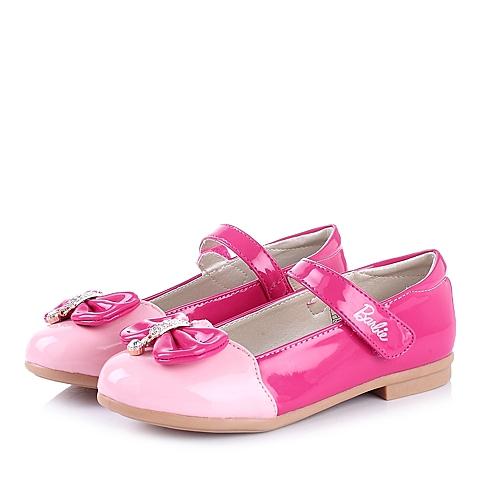 BARBIE/芭比童鞋2015春季新款PU桃红女小童皮鞋DA1353