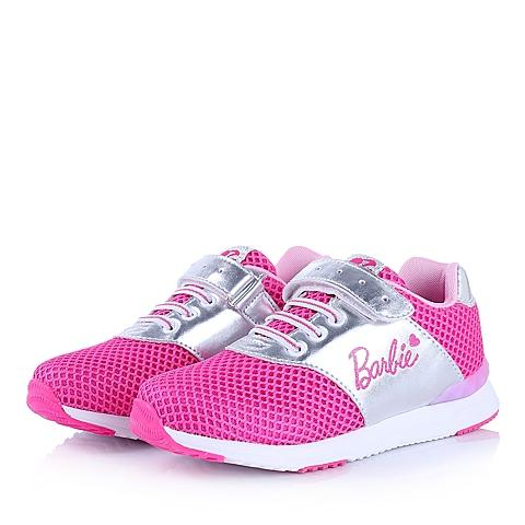 BARBIE/芭比童鞋2015春季新款PU/织物桃红女中童运动鞋DA1322