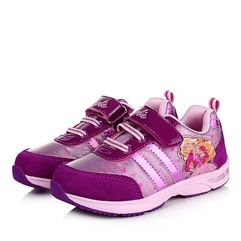 BARBIE/芭比童鞋秋季新品紫色反毛皮/PU女小童运动鞋跑步鞋DA1486