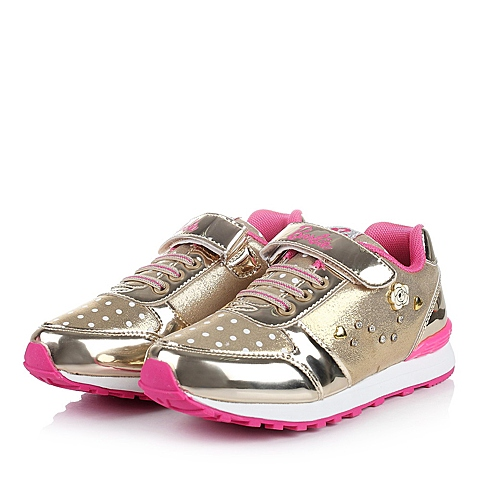 BARBIE/芭比童鞋2015秋季新品金色PU女中童跑步鞋跑步鞋DA1489