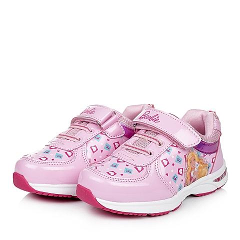 BARBIE/芭比童鞋秋季新品粉色PU/织物女小童运动鞋跑步鞋DA1493