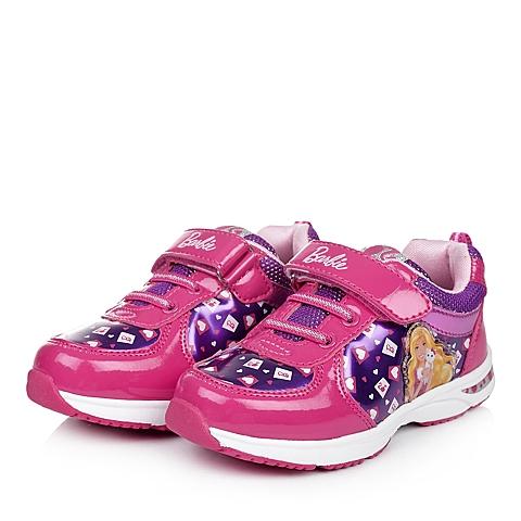 BARBIE/芭比童鞋秋季新品桃红PU/织物女小童运动鞋跑步鞋DA1493