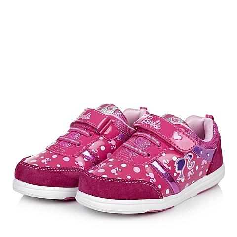 BARBIE/芭比童鞋秋季新品反毛皮/PU桃红女中童运动鞋板鞋DA1098