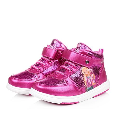 BARBIE/芭比冬季桃红PU/织物女小童灯鞋板鞋DA1515