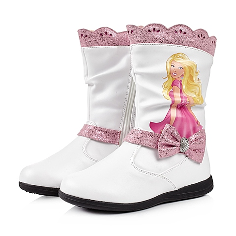 BARBIE/芭比冬季白色PU女小中童中靴DA1547