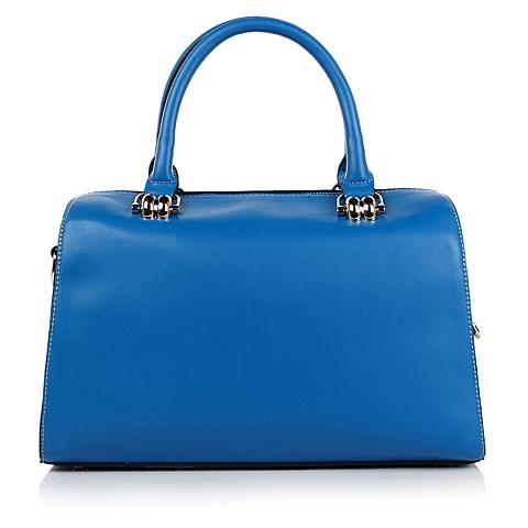Basto/百思图春蓝色PU革桶型手袋2789DAX4