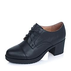 BASTO/百思图秋季专柜同款黑色小牛皮女单鞋TIF30CM5