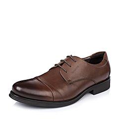 BASTO/百思图秋季专柜同款棕色牛皮商务系带男单鞋AKH05CM5