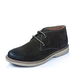 BASTO/百思图冬季专柜同款深绿色二层牛皮休闲低帮男靴AIF07DD5