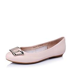 BASTO/百思图春季专柜同款粉色牛皮优雅尖头平跟女单鞋TCY39AQ6