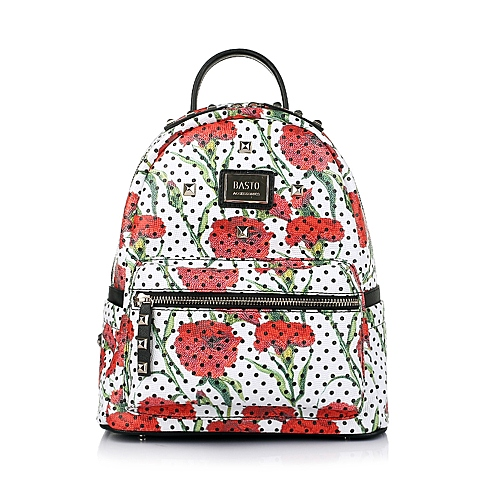 BASTO/百思图2016春季红色印花人造革女士双肩包1045LAX6