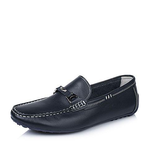 BASTO/百思图2016春季专柜同款蓝色打腊牛皮革男休闲鞋ABV22AM6 专柜1