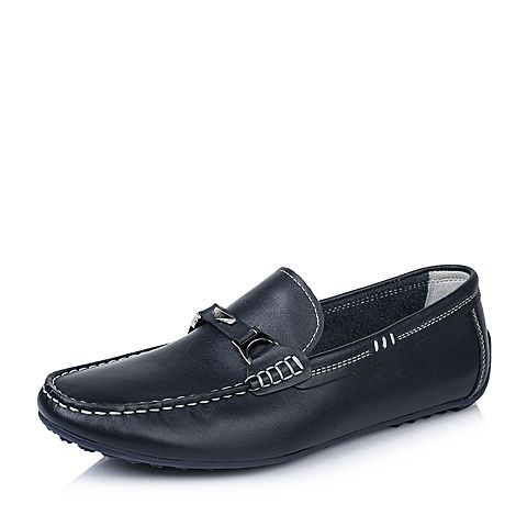 BASTO/百思图春季专柜同款蓝色牛皮休闲套脚男单鞋ABV22AM6