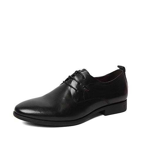 BASTO/百思图春季专柜同款黑色牛皮时尚简约商务系带方跟男皮鞋AKJ05AM6
