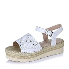 BASTO/百思图夏季专柜同款白色牛皮草编厚底松糕女凉鞋TUC01BL6