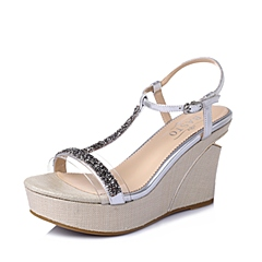 BASTO/百思图夏季专柜同款银/白色山羊皮T字女凉鞋TG506BL6