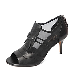 BASTO/百思图春季专柜同款黑色羊皮/网布拼接优雅细高跟蝴蝶结女凉鞋16A15AU6