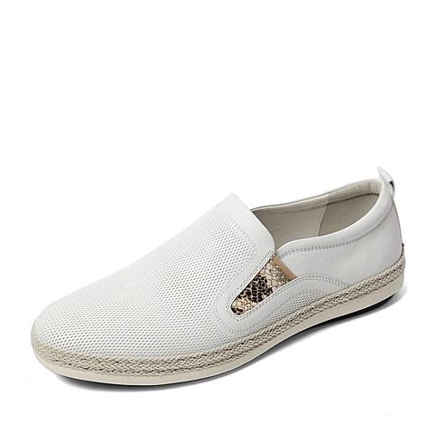 BASTO/百思图2016春季专柜同款白色软面牛皮休闲男单鞋AUZ02AM6 专柜1