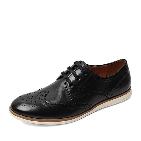 BASTO/百思图春季专柜同款黑色软面牛皮时尚镂花男单鞋AWP03AM6