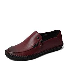 BASTO/百思图春季专柜同款红色牛皮舒适休闲侧拉链平跟男单鞋15N01AM6