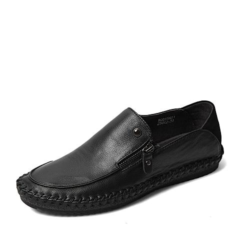 BASTO/百思图春季专柜同款黑色牛皮舒适休闲侧拉链平跟男单鞋15N01AM6
