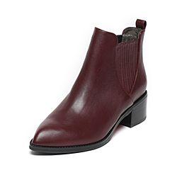 BASTO/百思图2016冬季专柜同款酒红色油蜡小牛皮女短靴TYU44DD6