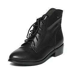 BASTO/百思图冬季专柜同款黑色牛皮时尚休闲女皮靴TS742DD6
