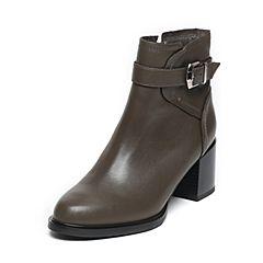 BASTO/百思图2016冬季专柜同款灰绿色牛皮女靴TYI42DD6