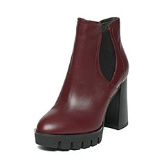 BASTO/百思图2016冬季专柜同款酒红色牛皮女靴TXK40DD6