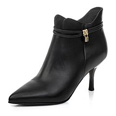 BASTO/百思图冬季专柜同款黑色打蜡小牛皮女短靴TZ746DD6