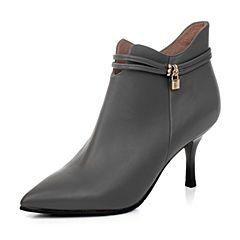 BASTO/百思图冬季专柜同款灰色油蜡小牛皮女短靴TZ746DD6