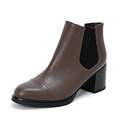 BASTO/百思图秋季专柜同款啡灰色牛皮休闲女靴短靴TYI44DD6