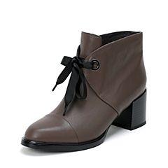 BASTO/百思图2016冬季专柜同款啡灰色油蜡小牛皮女靴TYI40DD6