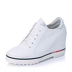 BASTO/百思图秋季专柜同款白色软面牛皮内增高女单鞋YCB01CM6