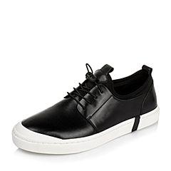 BASTO/百思图2016秋季黑色软面牛皮男单鞋BCH05CM6
