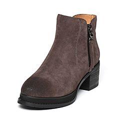 BASTO/百思图冬季专柜同款灰色牛剖层皮革休闲粗跟女皮靴16D15DD6