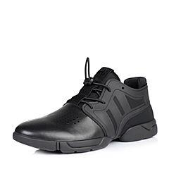 BASTO/百思图秋季黑色舒适简约男休闲鞋BGN06CM6